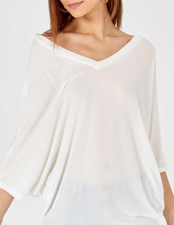 LAYLA - Double V Asymmetric White Top