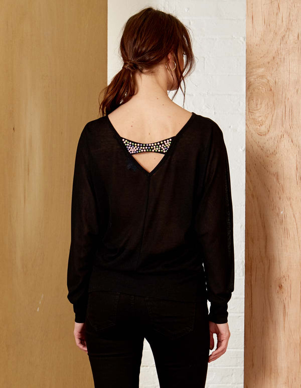 V Bead Detail Back Oversized Top