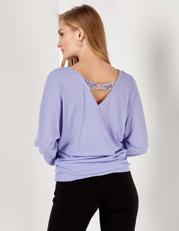 LAINY - Pearl Back Detail Batwing Lilac Top