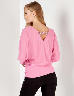 LAINY - Pearl Back Detail Batwing Pink Top