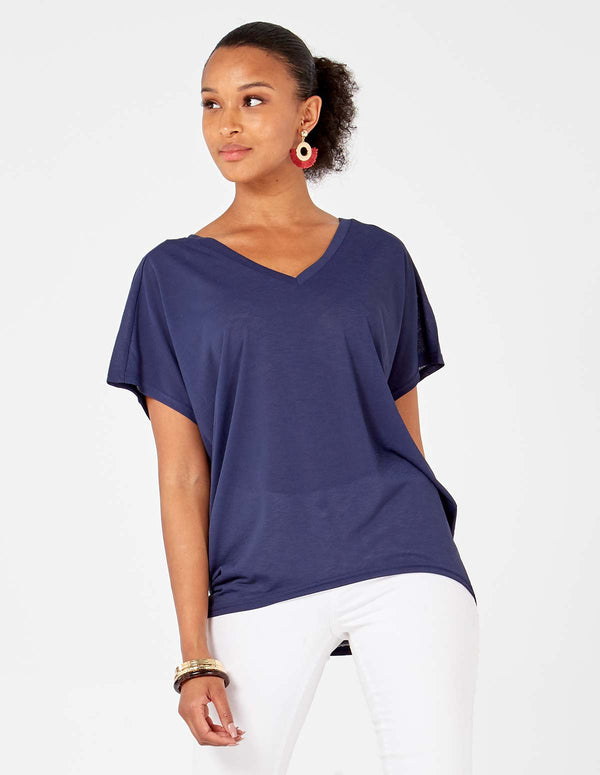 MARIAM - Navy Batwing Top With Pearl Embellishment