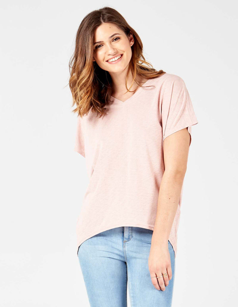 MARIAM - Pink Batwing Top With Pearl Embellishment