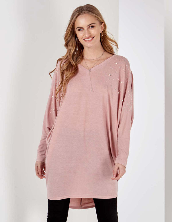 ANDREA - V Neck Embellished Oversized Top