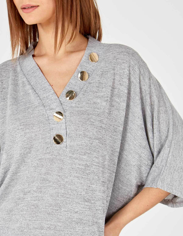 GIULIA - Button Front Detail Oversized Top