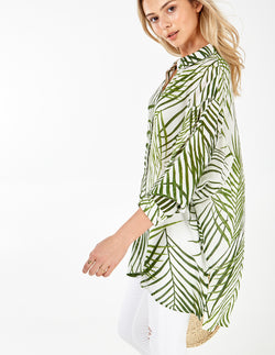 FALCON - Green/Ivory Oversize Button Front Shirt