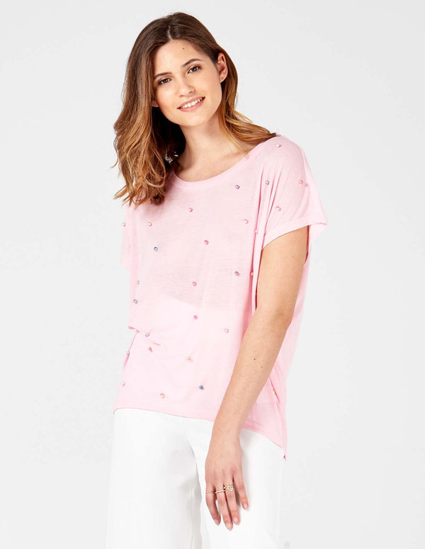MIKAYLA - Short Sleeves Oversized Pink Top With Studs