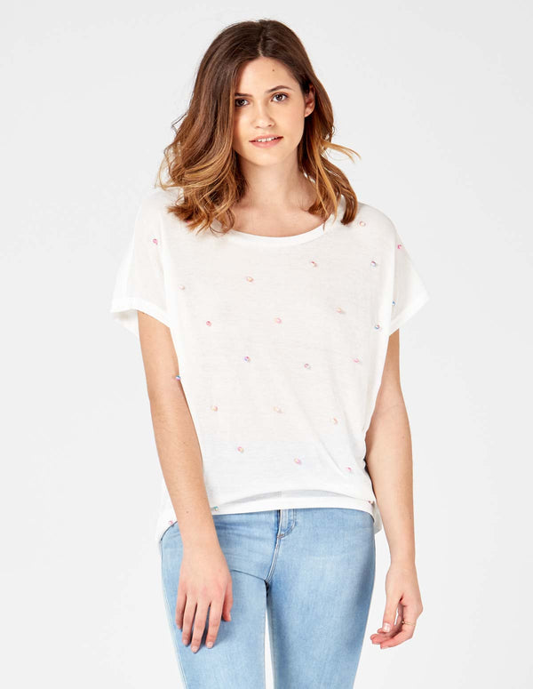 9694bbc066641 ... MIKAYLA - Short Sleeves Oversized White Top With Studs