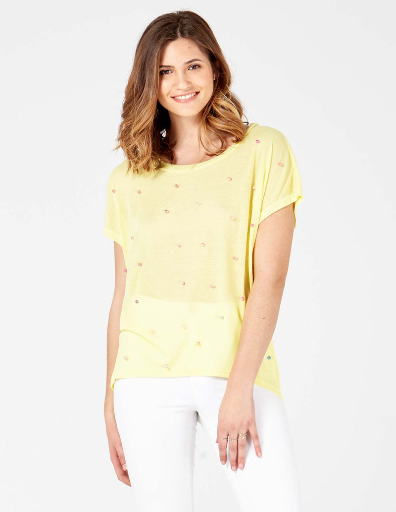 MIKAYLA - Short Sleeves Oversized Lemon Top With Studs