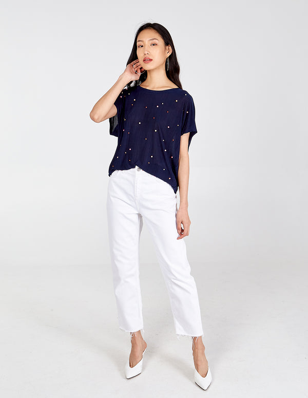 AGNES - Navy Plisse & Pearl Detail Oversized Top