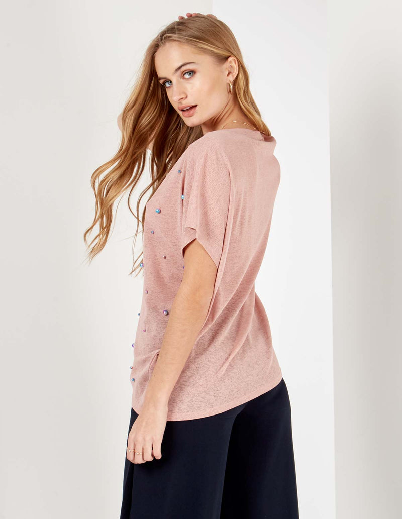 DILA - Short Sleeves Oversized Top With Studs