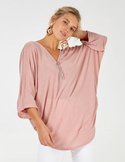 MELINA - Long Sleeve Oversized Top With Pink Back Zip