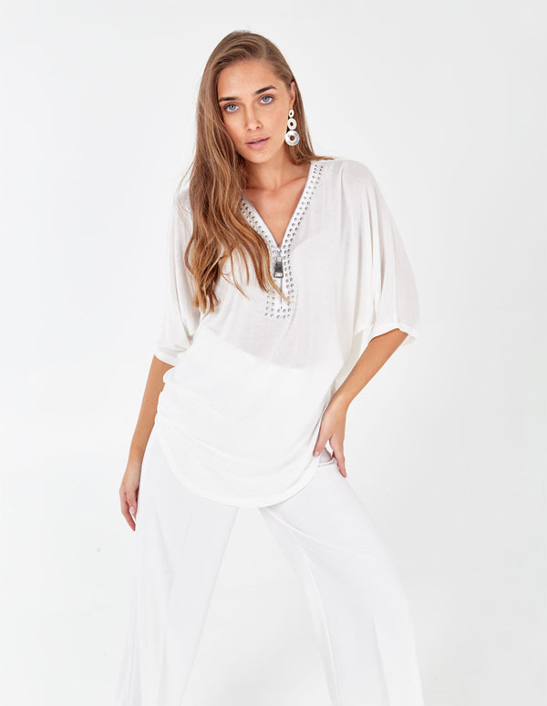 TILDA - Oversized White Zip Front Top With Studs