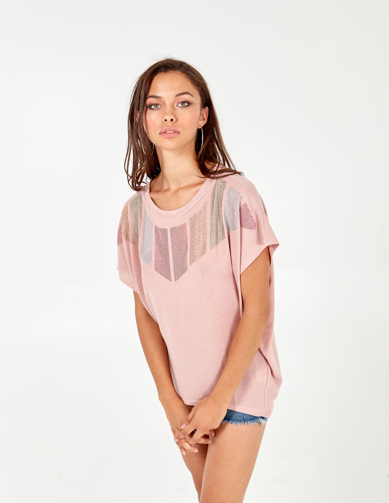 CARLISLE - Diamante Chevron Pink Top