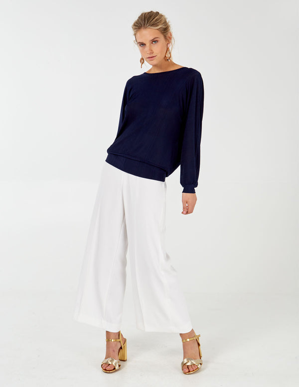 HARLEE - Cross Back Drapped Navy Batwing Top