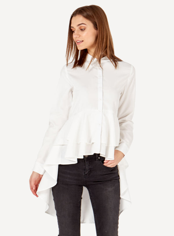 HAZEL - White Ruffle Layered Top