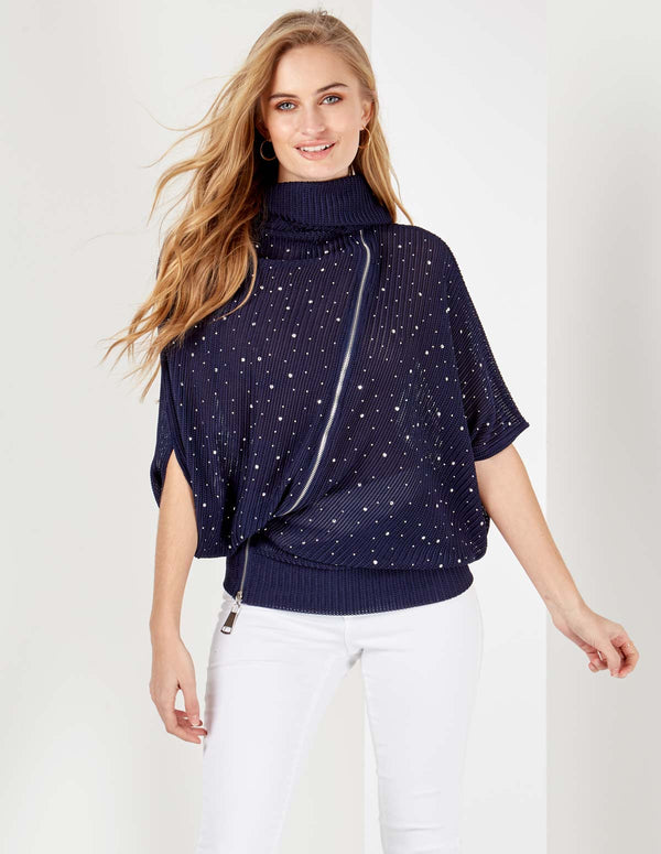GANYA - Diamante Zip Front Cowl Neck Navy Top