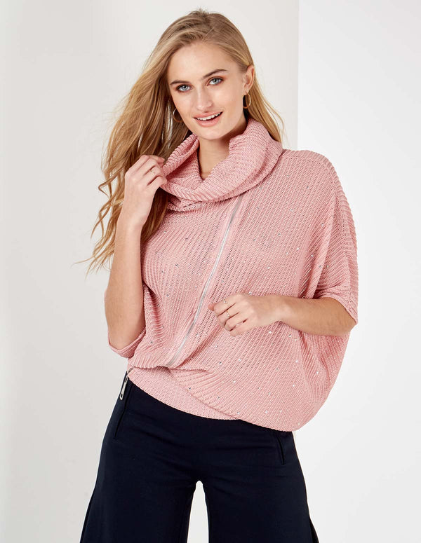 GANYA - Diamante Zip Front Cowl Neck Pink Top