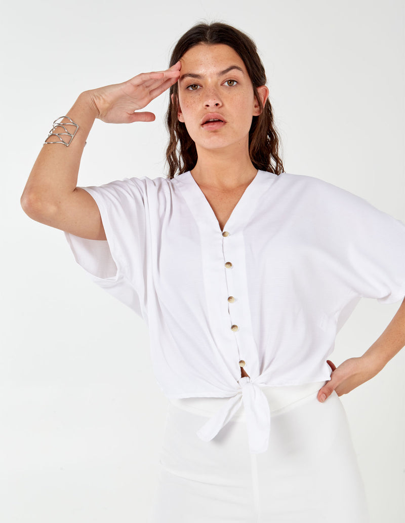 ABBEY - Oversize Button Through Ivory Top