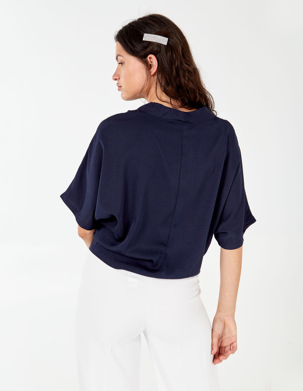 ABBEY - Oversize Button Through Navy Top