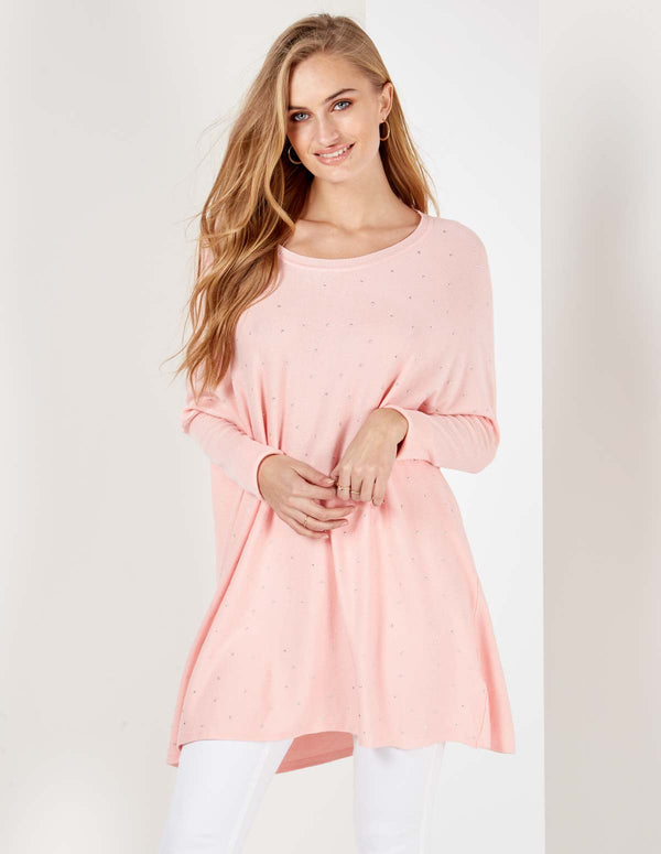 YARDLEY - Studded Front Pink Jumper