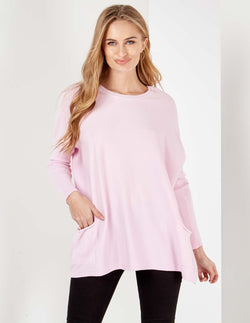 AVA - Crew Neck Lilac Batwing With Pockets