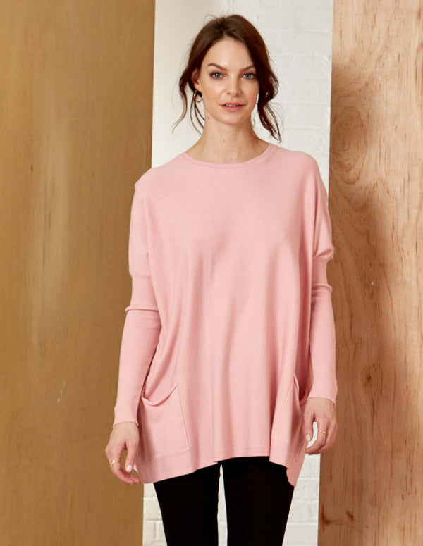 AVA - Crew Neck Pink Batwing With Pockets