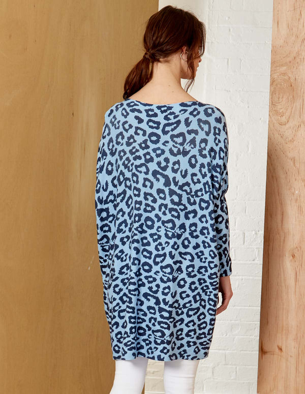 AMARA - Crew Neck Navy Animal Print Jumper