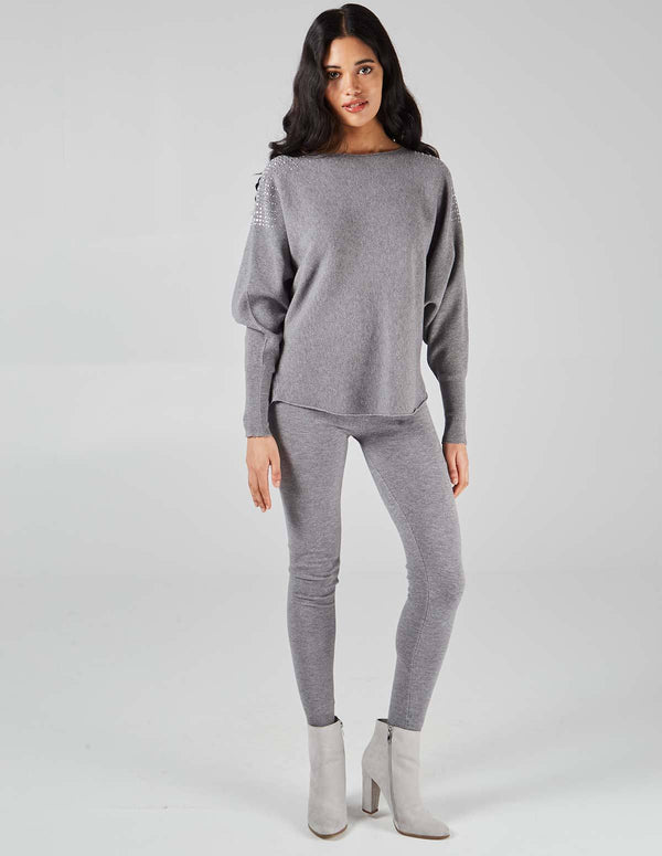 MARY - Grey Embellished Legging Set