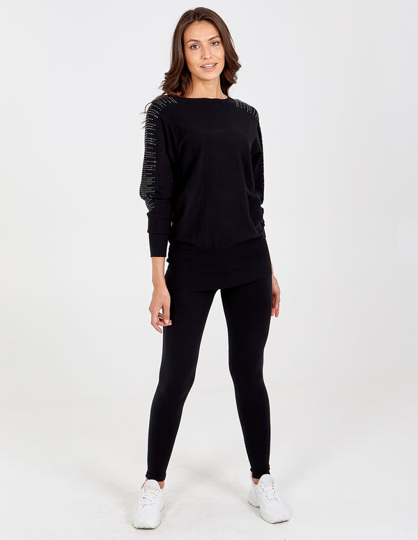 GISELLE - Black Diamonds Shoulder Detail Top & Leggings Set