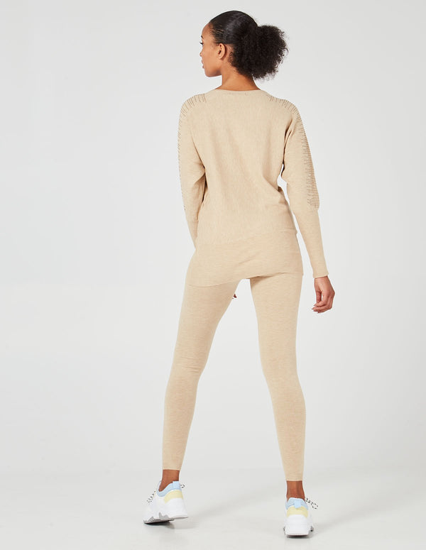 GISELLE - Diamonds Shoulder Detail Jumper & Leggins Taupe Set