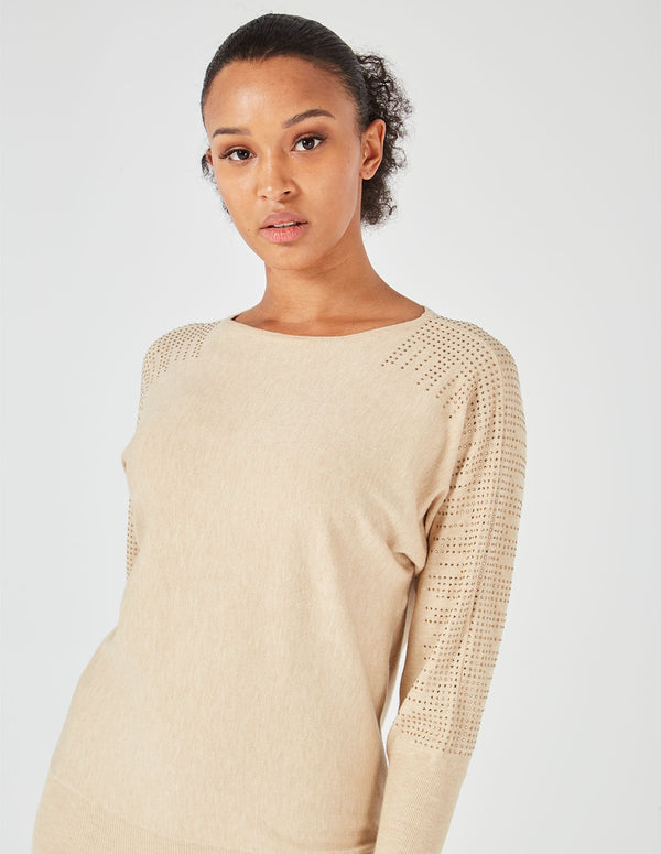 GISELLE - Taupe Diamonds Shoulder Detail Top & Leggings Set