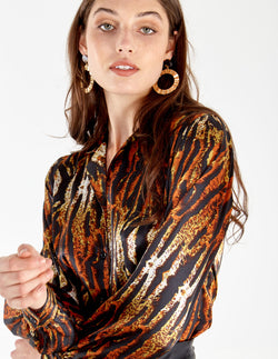 RADINKA - Tiger Button Front Blouse