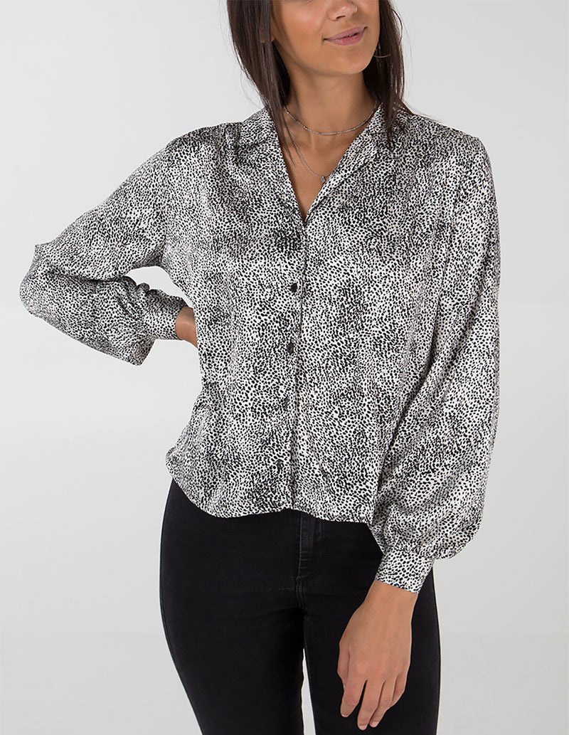 VERITY - Cream & Black Front Button Blouse