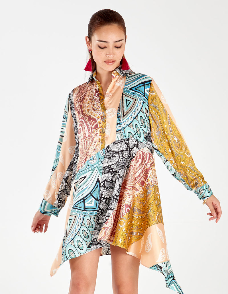 CHARISSE - Long Sleeve Asymmetric Multi Shirt Dress