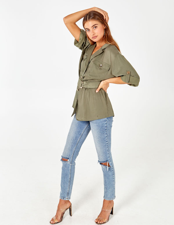 CHAYA - Button Through D-Belt  Shirt Tunic