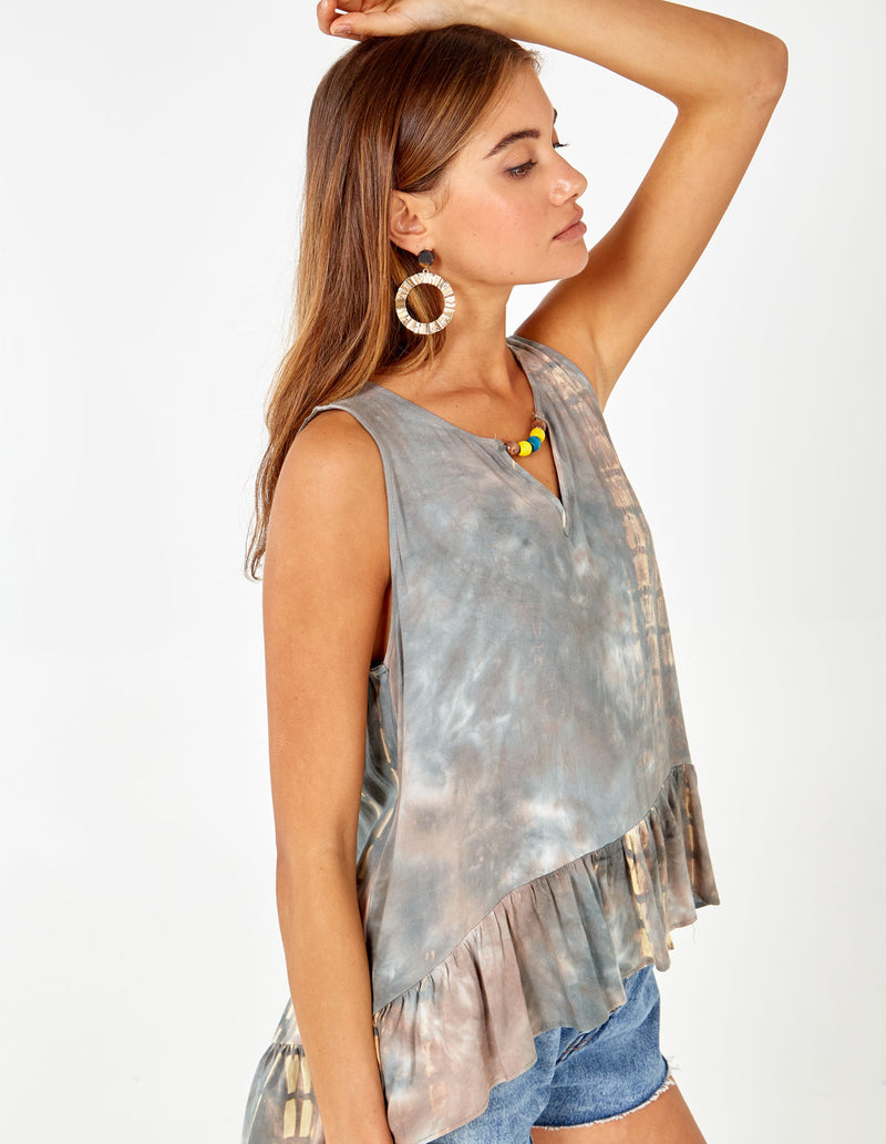 SAMIRA - Sleeveless Tie Dye Green Top