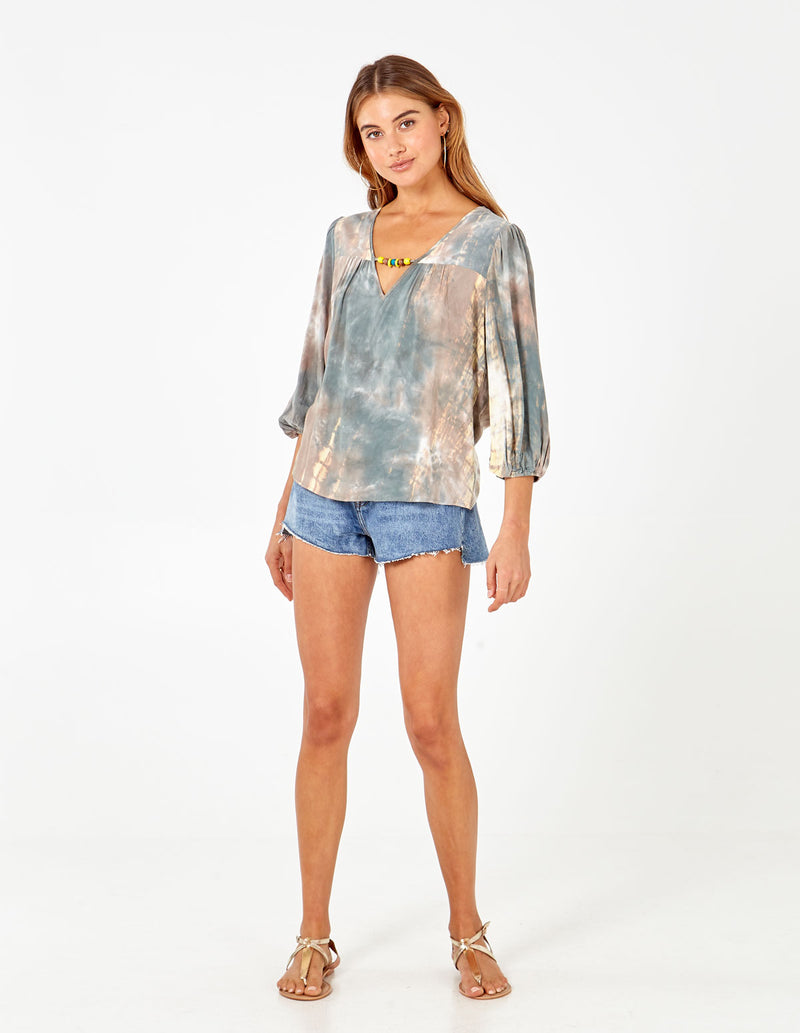 MABEL - Long Sleeve Tie Dye Green Top