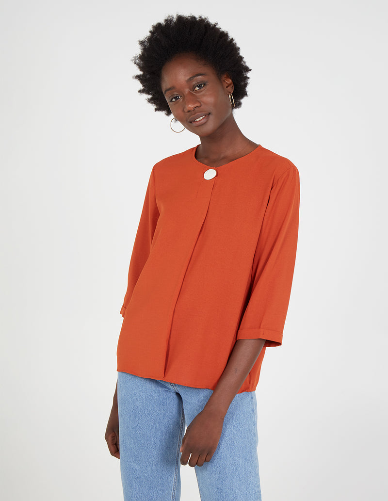 GALENA - 3/4 Sleeve Crew Neck Blouse