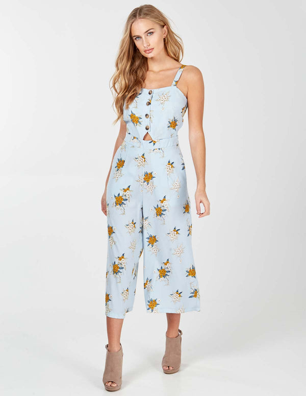 GOLDORNA - Pale Blue Button Front Cullotte Jumpsuit