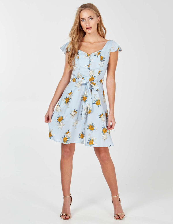 EDEN - Pale Blue Button Through Tea Dress