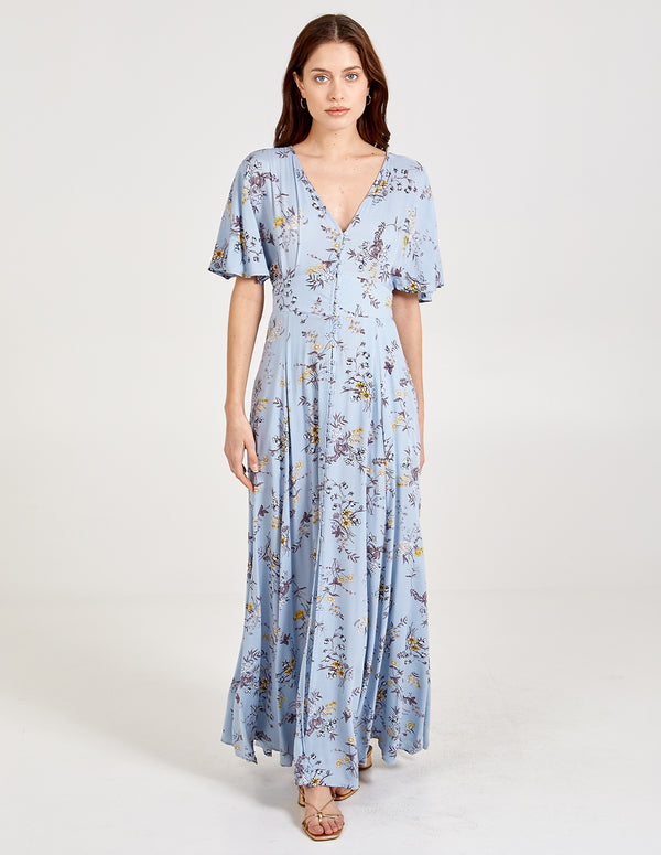 KAYLA - Button Through Blue Maxi Dress