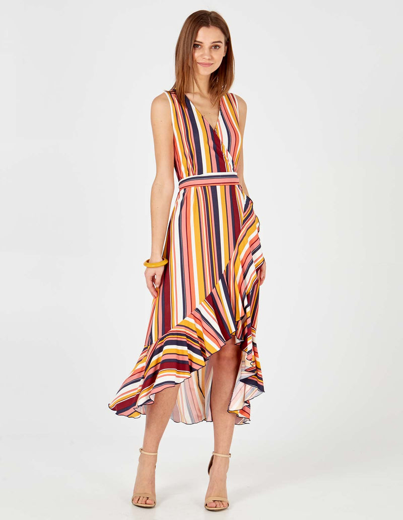KIMBERLEY - Tie Waist Midi Wrap Dress