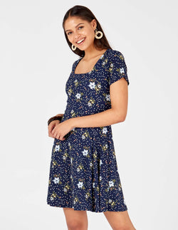 OLIVIA - Square Neck Swing Navy Dress