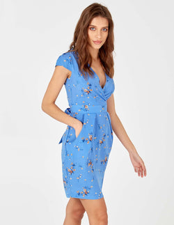 KACEY - Cornflower Blue Wrap Front Tulip Dress