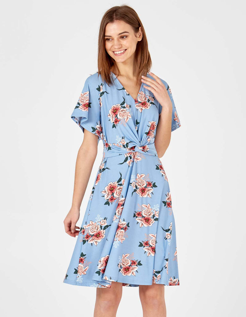 VALENTINA - Knot Front Fit & Flare Blue Dress