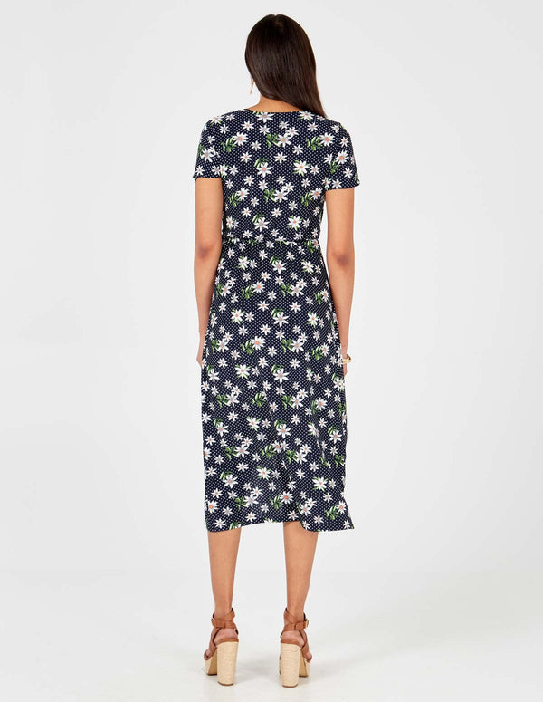 CLARA - High Low Midi Wrap Navy Dress