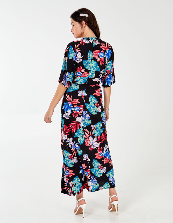 BERRY - Black Kimono Sleeve Tie Maxi Dress