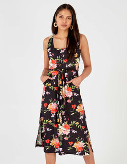 PRESLEY - Floral Print Square Neck Midi Black Dress