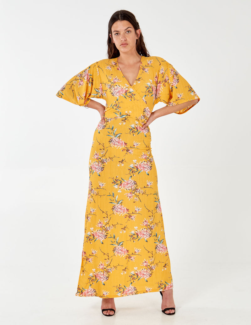 ARLENE - Wrap Front Yellow Maxi Dress