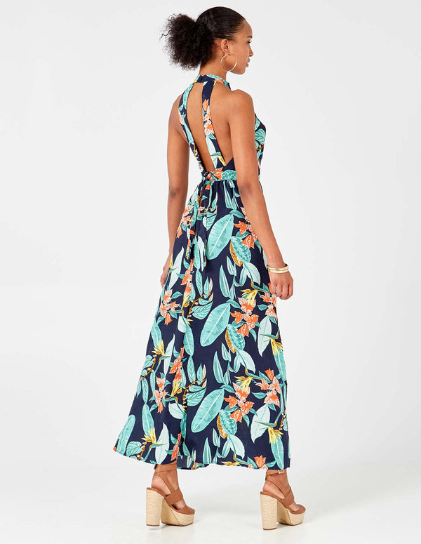 ADRIANA – High Neck Tie Back Floral Print Navy Maxi Dress